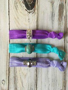 Purple Aqua & Lavender Beaded Hair Tie Set by TheJewelryBoxe