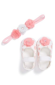 PLH Bows & Laces Crib Shoes & Headband (Baby Girls) available at #Nordstrom