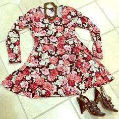 Forever 21 Floral Skater Dress Super cute floral print skater style dress with long sleeve. Worn only once. This is a short mini dress. Size is large but fits like a medium. Forever 21 Dresses Mini