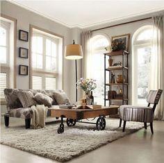 Rustic-Wood-Coffee-Table-Cocktail-Cart-Wheel-Decor-Living-Room-Furniture-Castors
