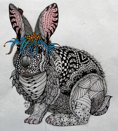 Dusty zentangle art form on the bunny. Check out the ear on the left. :) LadyBug. Template provided by Ben Kwok