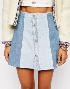 Enlarge Milk It Patchwork Denim Skirt With Button Front Detail