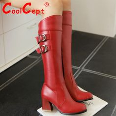 Aliexpress.com: Comprar Tamaño 30 52 mujeres del alto talón sobre la rodilla botas de invierno de moda de montar calientes de arranque larga punta redonda del calzado de calidad de los altos talones P21142 de zapato fiable proveedores en CoolCept,.LTD