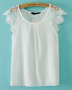 Cheap blusas femininas, Buy Quality blusa feminina casual directly from China blouse brand Suppliers: Women summer lace sleeve blouses chiffon O neck sleeveless Shirt blusa feminina casual slim brand designer tops Mode Top, Look Chic, Mode Inspiration, Mode Style, Lace Sleeves, Dress Patterns, African Fashion, Blouse Designs, Ideias Fashion