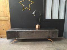vestiaire transform en meuble tv industriel metal et bois heure cr ation d co pinterest. Black Bedroom Furniture Sets. Home Design Ideas
