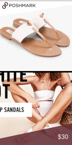 NEW Steve Madden Olivia Thong Sandals NEW Steve Madden Olivia Sandals in white & tan leather uppers, slip-on construction, rubber sole. Made in Brazil Size 6/6.5 Fits like a size 6 Runs Small $30 Steve Madden Shoes Sandals