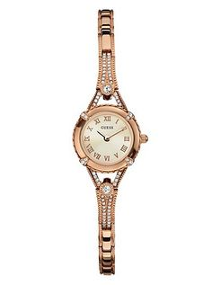 Like the vintage look - Rose Gold-Tone Petite Crystal Watch   GUESS.com $105