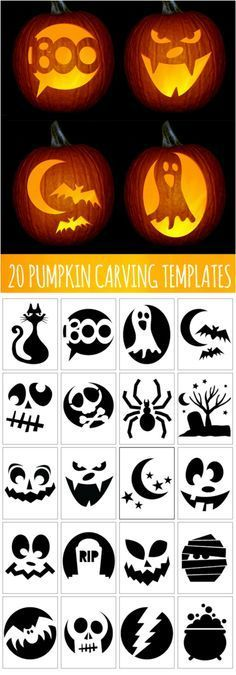 A little Halloween pumpkin carving inspiration – templates to print and copy! A little Halloween pumpkin carving inspiration – templates to print and copy! Diy Halloween, Adornos Halloween, Manualidades Halloween, Holidays Halloween, Halloween Pumpkins, Halloween Pumpkin Carving Stencils, Halloween Pumpkin Designs, Halloween Pumpkin Decorations, Pumkin Stencils