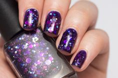Powder Perfect Midnight Planning - deep purple jelly with round holo glitters.
