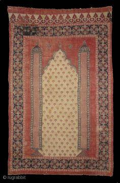 Prayer Carpet Kalimkari From Kutch Gujarat. India. Khadi Cotton cloth. 19th Century. Its size is 80cm X130cm.