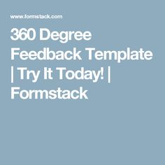 Awesome 360 Degree Feedback Template | Try It Today! | Formstack