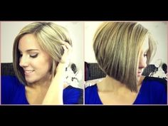 How I Style My Inverted Or Stacked Bob --Asymmetrical Bob--A-Line Bob--Red Lowlights - YouTube
