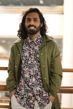 Men's fashion design assistant Imraan, showing us that real men wear florals :) We love the parka, too!