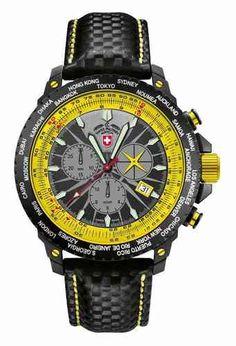 CX SWISS MILITARY WATCH Hurricane Worldtimer Rawhide - Yellow