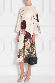 Valentino Floral Print Cape-back Midi Dress