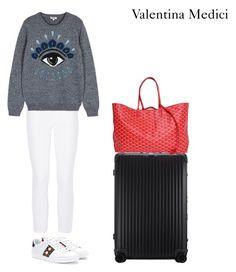 """airport look"" by valentinamedici on Polyvore featuring moda, Gucci, Rimowa, Burberry, Kenzo e Goyard"