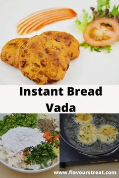 Bread Vada - delicious and indulgent instant version vada made with white bread slices, few spices and vegetables have a crispy outside and soft inside. Easy Indian Snacks, Easy Snacks, Indian Food Recipes, Evening Snacks Indian, Indian Vegetable Recipes, Vegetarian Recipes Dinner, Snack Recipes, Cooking Recipes, Dinner Recipes