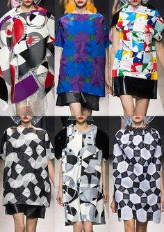 Abstract Geometrics – Origami Folds – Graphic Geometry – Giacomo Balla Futurism – Bold Colour – Intersecting Circles Paris Womenswear Print Highlights Part 2 – Spring/Summer 2015 catwalks 2015 Fashion Trends, 2015 Trends, Fashion Prints, Fashion Textiles, Fashion Design, Geometric Fashion, Quirky Fashion, Junya Watanabe, Fashion Project
