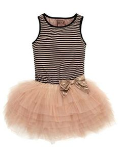 Striped Beige Tutu Party Dress