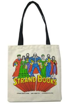 Super Friends of literature, unite! Tote with R. Sikoryak artwork from Strand Books in NYC.