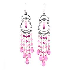 Rose chandeliers. Swarovski crystals and silver. Rose, romantic, silver and Orient. Marvellous long earrings.