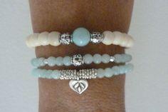 beach mermaid ivory bone beads aqua jade by beachcomberhome, Wire Jewelry, Jewelry Crafts, Beaded Jewelry, Jewelery, Jewelry Bracelets, Handmade Bracelets, Handmade Jewelry, Bracelet Making, Jewelry Making
