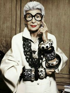 Iris Apfel styled in black and white