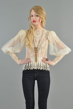 1970s Sheer Puffed Sleeve Lace Victorian Blouse   BUSTOWN MODERN