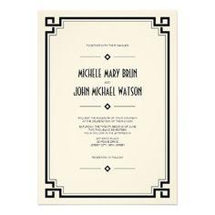 Elegant Black Frame Art Deco Wedding Invitation