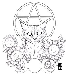 Art of Krista Tyni Witch Coloring Pages, Coloring Books, Art Drawings Sketches, Tattoo Drawings, Tattoo Sketch Art, Arte Obscura, Witch Art, Flash Art, Cat Tattoo