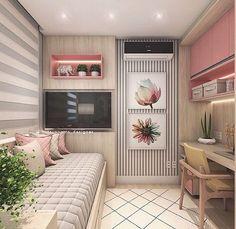 """3,075 curtidas, 22 comentários - Interiores e Decor (@interior.inspira) no Instagram: """"Um quarto de princesa  Linhas modernas e papel de parede floral, super romântico. A sanca completa…"""""""