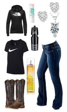 """Hoping When He Comes Back Home He Asks Me Out On A Date :("" by im-a-jeans-and-boots-kinda-girl on Polyvore featuring Bloomingdale's, NIKE, adidas, Maybelline, The North Face, Ariat and Bullet"