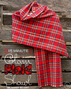 15 Minute Plaid Blanket Scarf - great beginner project!