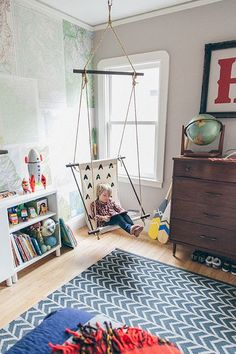 Modern woodsy boys room Indoor Swing, Boys Room Design, Swinging Chair, Luxury Furniture, Furniture Design, Chair Design, Playroom, Bedroom Decor, Beautiful Boys