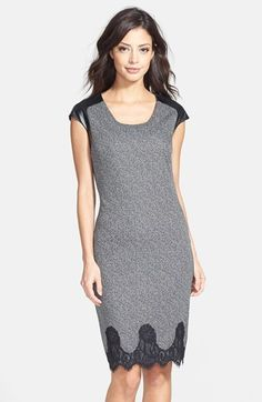 Maggy London Faux Leather & Lace Trim Tweed Sheath Dress available at #Nordstrom