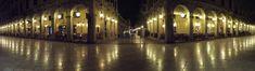 #building #corfu #greece #lamp #lamps #liston #night #panorama #theme symmetry