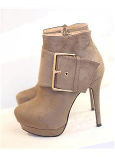Fashionable Sexy Camel Platform Stiletto Heels with Buckle