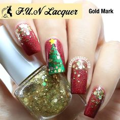 Beautiful Christmas Nails.. I'd do some different colored nails with the gold glitter... maybe even some silver glitter... who knows?  They're all awesome! :D