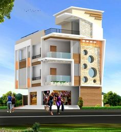 front elevation designs for duplex houses in india House Outer Design, House Front Design, Modern House Design, Building Elevation, House Elevation, Elevation Plan, Bungalow House Design, Duplex House, Dream House Exterior