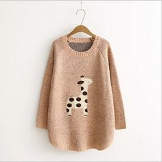 Cartoon Giraffe Long sleeve knit loose Sweater
