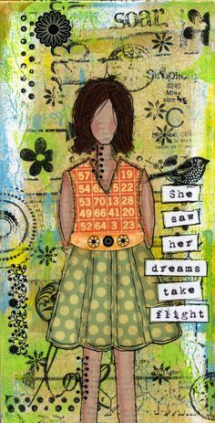 Serendipity Girl Art Mixed Media Collage Canvas - She Saw Her Dreams Take Flight. $39.99, via Etsy.