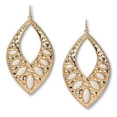 Women's Large Open Teardrop Earring - White/Gold