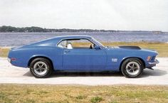 1970 BOSS 429 Mustang. This 'Stang was a factory built hot rod. Ford had to shoehorn in a massive 429 engine to homologate the engine for NASCAR. In grabber blue or black, or Wimbledon white, this car just looks sinister.