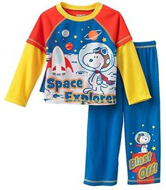 Peanuts Snoopy Space Explorer Little Boys Pajama Set  Size 2T *** You can get more details by clicking on the image. (This is an affiliate link) #BabyBoySleepwearRobes