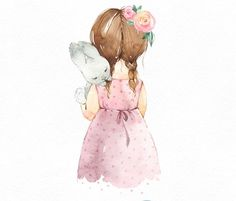 Add a sweet accent to Baby's nursery with this print that features a young girl cuddling her bunny printed on high-quality gloss paper. Watercolor Drawing, Watercolor Animals, Watercolor Cards, Watercolor Paintings, Baby Clip Art, Baby Art, Illustrations, Illustration Art, Baby Room Paintings
