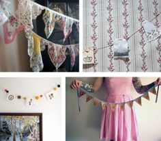 pics of buntings ~ credits: Clockwise from top left:  Vintage Hankies Bunting from Poppylarity; Teabag & Doily Bunting from British Cream Tea; Oh Darling Wooden Bunting from Bliss in a Teacup; Limited Edition Cheeky Bird Bunting from June Craft
