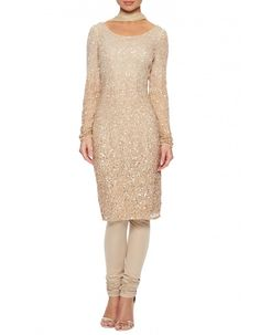 Champagne beaded churidar suit - This asian churidar suit is created with a beautiful hand beaded sparkly dress which is a sequin dress with stones scattered too for extra embellishment and glamour. Wear as a cocktail dress or as a churidar suit as it comes with matching churidar and and net stole.