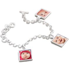 sterling silver photo charm bracelet - I want one! What a great mommy gift.
