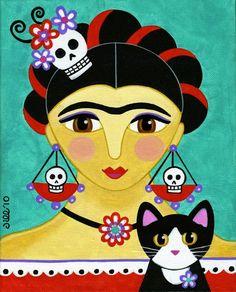FRIDA Kahlo and Tuxedo CAT Art PRINT from Original Painting - by Jill. $10.00, via Etsy.
