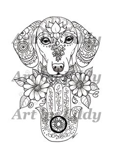 Art of Dachshund Single Coloring Page - Hamsa Palm Doxie Mais